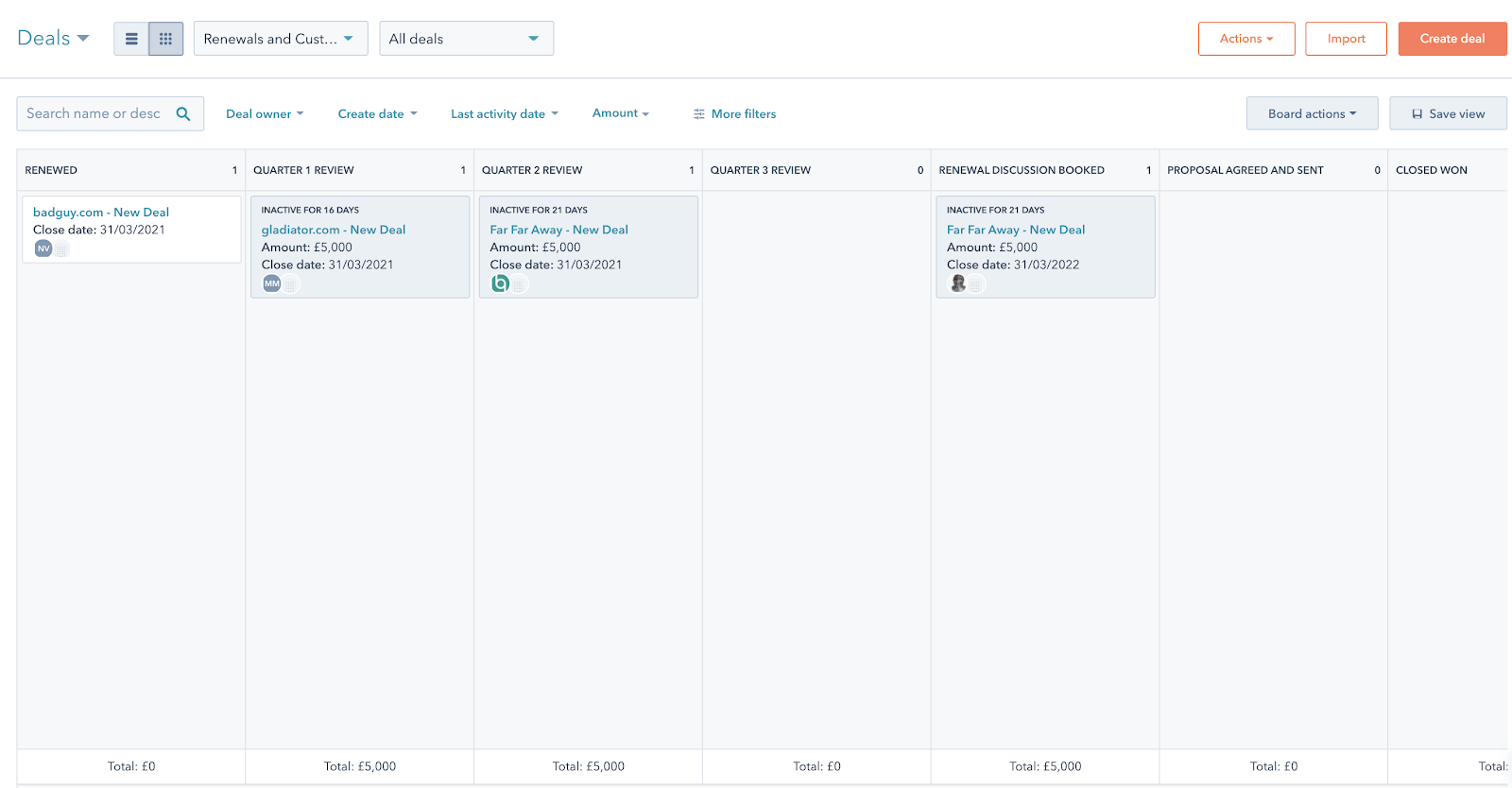 An overview of the sales pipeline in HubSpot with deals in different stages