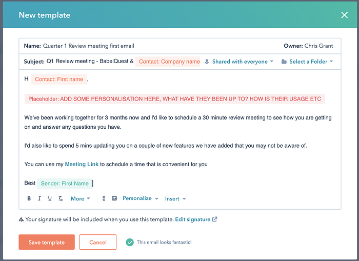 A view of email templates in HubSpot