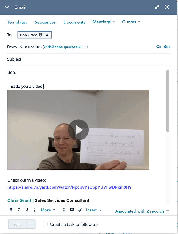 An inserted video in an email send straight from HubSpot to a customer