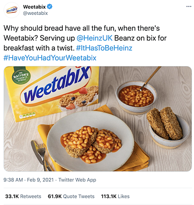 A tweet from Weetabix