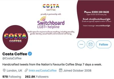 Costa coffee social media on Twitter