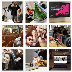 A grid view of BabelQuest's Instagram showing employees and office culture
