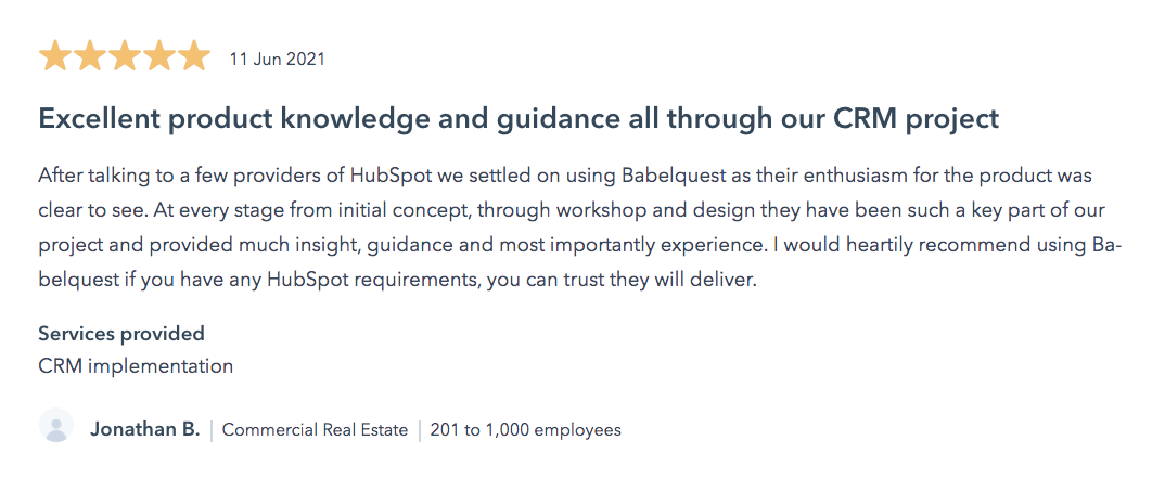 A review of onboarding via a HubSpot Partner –BabelQuest