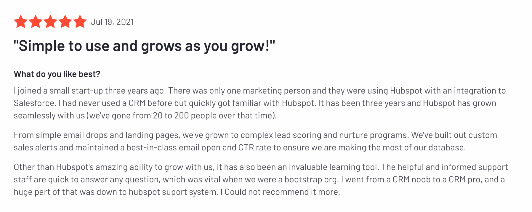 A review of Hubspot as a product