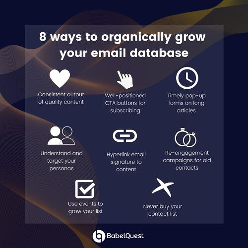 Infographic showing 8 ways to organically grow your email database