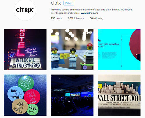Examples from the B2B business Citrix and their Instagram feed