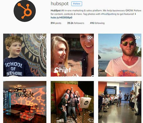 What HubSpot's Instagram profile and post grid looks like